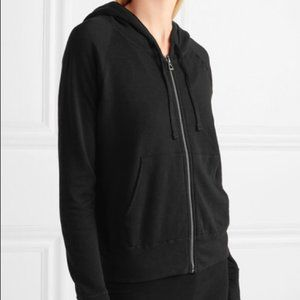James Perse Waffle Knit Cotton Zip Up Hoodie